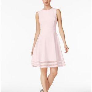 🆕 CALVIN KLEIN Illusion-Trim Fit & Flare Dress